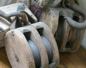 Set of 2, Vintage Wooden Double Block and Tackle Pulleys - Rustic, Nautical, Antique, Farm, Barn, Coastal Cottage Decor