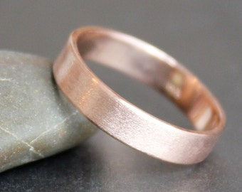 14K Solid Rose Gold Ring - 4mm Rectangle Band - Simple UNISEX Wedding Ring (Size 4 - 12)