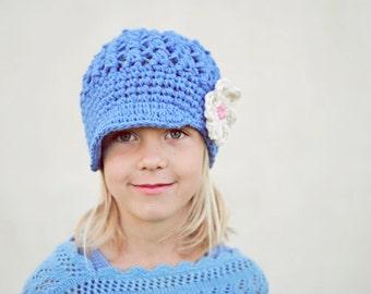Blue Girl's Newsboy Hat, Crochet Hats for Girls, Cotton, Newborn to Adult