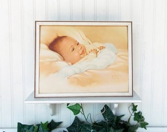 "Vintage 1940's Baby Portrait by Edith Marie Klapka Lithograph--- Titled ""Precious Awake"""