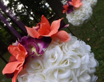 Design your own Petite rose kissing balls/pomeaners with dendrobium orchids great for bridesmaids or flower girls