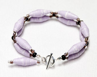 Lavender Paper Bead Bracelet with Toggle Clasp