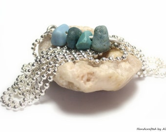 Beach Glass Jewelry Sea Pebbles : Long Blue Slag Glass Sterling Silver 1800's Vintage Beaded Charm Necklace - Cairn Jewelry Beach Stones