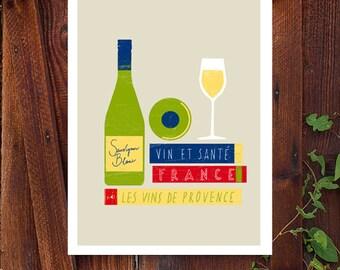 "French Wine Art - Les vins de France print - Provence gourmet travel books art Illustration 11""x15 - archival fine art giclée print"