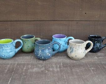 Denim Blue and Gray - Handpainted Ceramic Coffee Mug - Speckled Glaze - OOAK - Sale