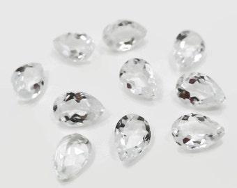 Genuine White Topaz 6x9x3.5-4mm Pear cut 1.55-1.75ct each