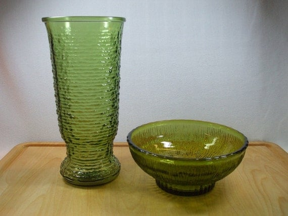 Green Glass Vases And Bowls