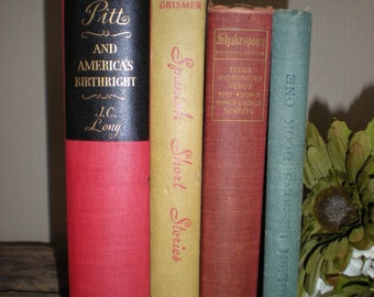 SALE Vintage Book Lot of Vintage Antique Books - Red Blue Cream