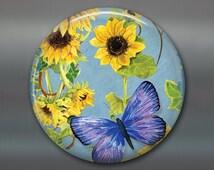 sunflower magnet, hand painted sunflower art magnet, country kitchen decor, large fridge magnet, sunflower decor MA-354