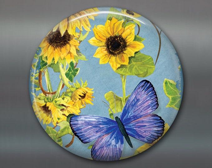 "3.5"" sunflower magnet, hand painted sunflower art magnet, country kitchen decor, large fridge magnet, sunflower decor MA-354"