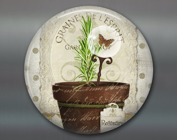 """3.5"""" herb garden fridge magnet, hand painted rosemary art magnet, country kitchen decor, gift for gardener, rustic decor MA-1622"""