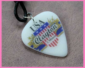 SALE Guitar Pick Leather Surfer Necklace Clayton Pendant USA Freedom Patriotic Choker