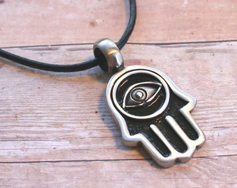 Leather Surfer Necklace With Pewter Hamsa Fatima Hand Eye Beach Jewelry