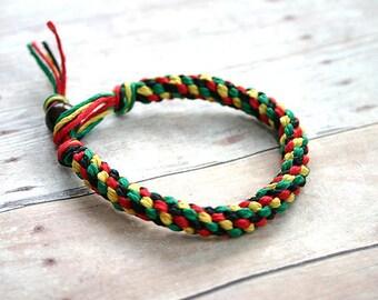 Rasta Black Red Yellow Green Round Hemp Bracelet