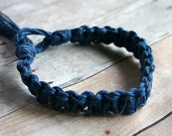Surfer Macrame Hemp Bracelet Blue Woven Knot Friendship Bracelets