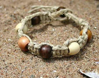 Surfer Phatty Thick Hemp Bracelet Or Anklet With Wood Beads