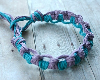 Surfer Thick Hemp Bracelet Or Anklet Knots Turquoise Purple