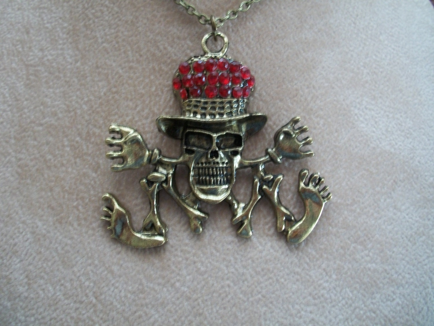 Top hat skelton necklace red rhinestone hat skull jewelry for Red hat bling jewelry