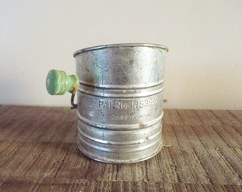 Little Antique Aluminum Sifter with Green Wooden Knob