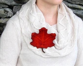 Leaf Pin. Felted Leaves. Rust Maple Leaf Brooch. Handmade Wet Felted Leaf Pin.