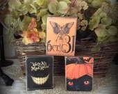 Set of 3 Primitive Halloween Wood Blocks featuring Black Cat and Pumpkin, Skeleton Black Orange HAFAIR OFG