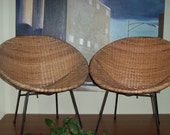 Reserved for Alexa Pair Rattan Wicker Basket Chairs Mid Century Eames