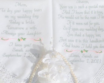 Mother In Law & Mother of the Bride Embroidered Wedding Hankerchief by Canyon Embroidery