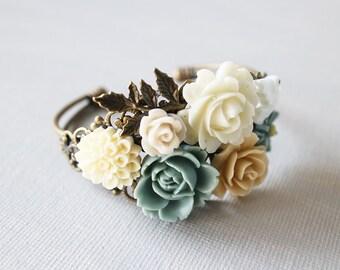 Flower Cuff Bracelet - pastel bouquet bracelet. vintage wedding jewelry. bridesmaid gift. spring jewelry