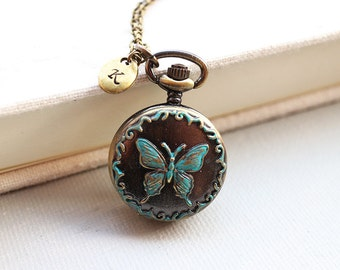 Butterfly Pocket Watch Necklacewith initial tag. victorian style. personalized jewelry. everyday necklace