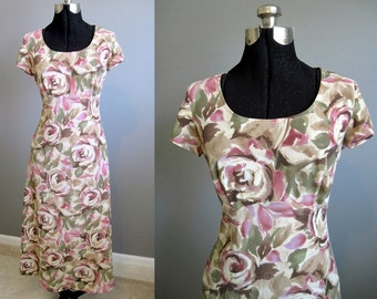 Floral Dress Vintage Maxi Grunge Festival 1990s Small