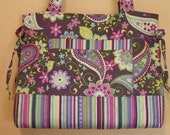 Quilted Bow Tuck Style Bag The Andrea Michael Miller Paisley Spree Gray by QuiltedCreationsbyMe
