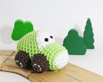 Crochet Car Baby Rattle Toy - organic cotton - light green and brown