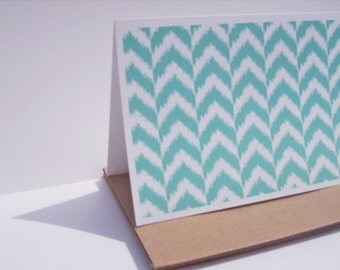 Chevron Note Cards - Teal Blue Stationery Set, Geometric Thank You Notes, Modern Ikat Design Card Set, Chevron Arrows Mod Teal Patterns
