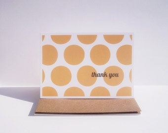 Thank You Cards - Modern Note Cards, Orange Chevron Thank You Notes Mod Dots Dandelions, Orange Note Card Set, Summer Fall Thank You Notes