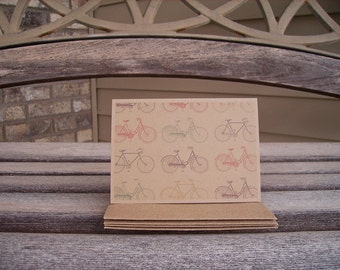 Bike Note Cards - Vintage Bicycles, Bike Stationery, Bike Bicycle Kraft Note Card Set, Red Grey Brown Teal Chartreuse Bike Thank You Notes