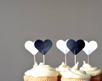 Black and White Heart Cupcake Picks, set of 12