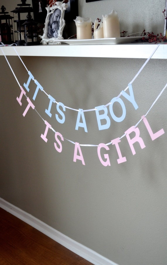 It Is A Girl or It Is A Boy Banner - baby shower garland