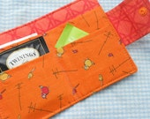 Tea Wallet, Tea Bag Wallet, Birds, Orange - LakesideQuiltsMaine
