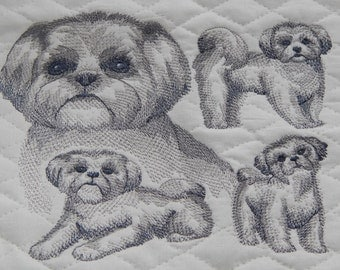 Shih Tzu Dog Wallhanging, Embroidered Dog, Dog Wallhanging, Dog Art, Dog Memorial, Dog Thread Sketch, Made in Maine USA