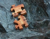 Earrings - Dangle -  Puzzle Pieces of Canary Wood