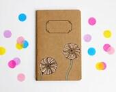 Small Notebook, Pastel Ranunculus, Flower Illustration, Pocket Journal, Blank Notebook, Sketchbook, Hand Drawn, OOAK