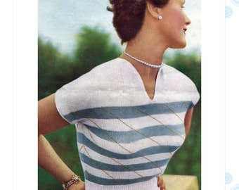 50s knitting pattern - 1950s cap sleeve cropped sweater pattern - PDF download