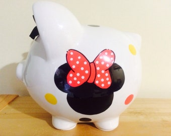 Personalized  Large Piggy  Bank  Disney Minnie Mouse Polka Dots-Newborns , Boys , Girls , Baby Shower Gift Centerpiece