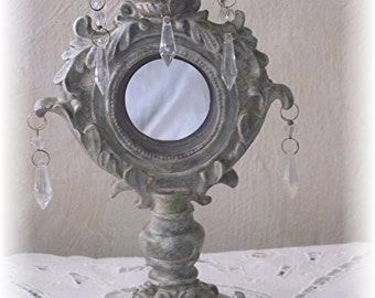 Shabby Chic Mirror with Hanging Crystal Drops, Bedroom Mirror, French Country, Shabby Chic Decor