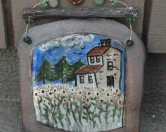 Farmhouse Hanging Stoneware Painting