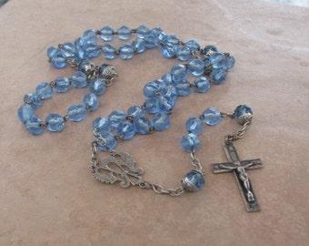 Lovely Light Blue Glass Rosary