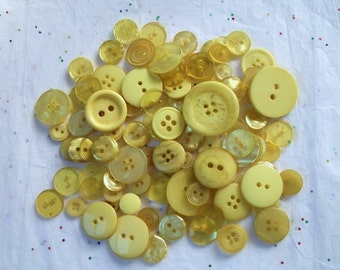 25 Yellow Buttons, Khaki Yellow Button Mix, Assorted Sizes, Crafting Jewelry Collect (1548)