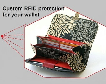 Custom RFID protection for your wallet.  Build your own wallet, rfid blocking wallet, rfid wallets, rfid protection