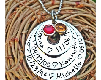 Personalized Hand Stamped names and birthday
