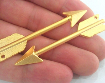 2 Gold Pendant Gold Plated Arrow Pendant  G1108